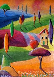 Abstract ACEO trees house