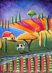 Abstract ACEO cow house crops