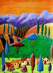 Abstract ACEO village