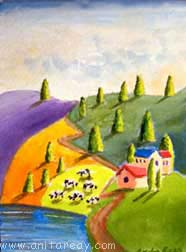 Abstract ACEO cows lake