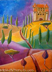 Abstract ACEO castle