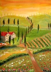 Abstract ACEO tuscany