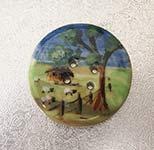 sheep and hut landscape button
