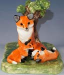 fox and cubs bud vase