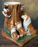 collie dog and cat vase