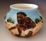Dingo aboriginal hunter vase