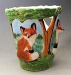 relief fox pencil vase